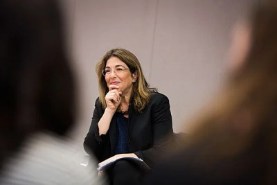 "Award-winning writer Naomi Klein spoke to a capacity crowd at First Parish Church about the incompatible goals of climate action and the free market. ""If you look at the pillars of neoliberalism ... what you see is that it's impossible to reconcile climate action with that worldview."""