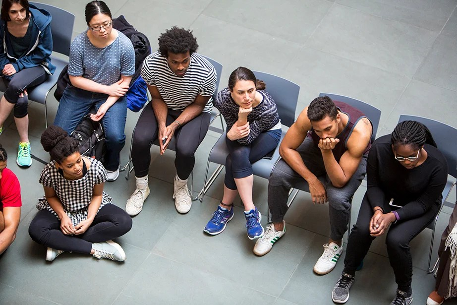 Later in the day, Harvard students assembled at the Harvard Art Museums to learn from the masters—but first they watched. Rose Lincoln/Harvard Staff Photographer