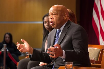 """Do your best to look out for all humankind,"" said Congressman and civil rights leader John Lewis in accepting his Gleitsman Award at the Harvard Kennedy School. ""Never become bitter; never ever give up. You'll get knocked down but get up ... You have to pace yourself for the long haul."""