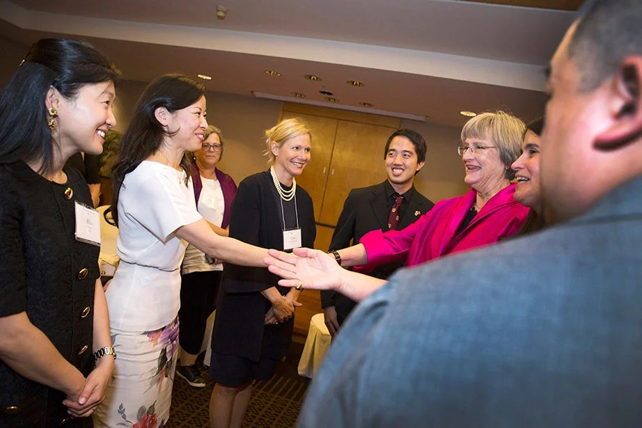 "President Faust attends the Asia Club Leaders Reception and meets with alumni before the ""Your Harvard: Singapore"" program in March 2017.  Faust has engaged with alumni across the globe throughout her presidency; Harvard has more than 300,000 alumni living in 200 countries. Stephanie Mitchell/Harvard Staff Photographer"