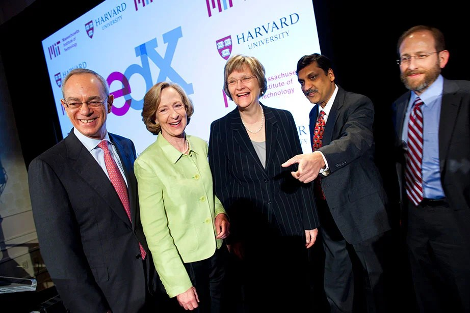 Then-MIT Provost Rafael Reif (left), then-MIT President Susan Hockfield, President Faust, MIT Professor Anant Agarwal, and Harvard Provost Alan Garber announce the launch of edX in May 2012. Stephanie Mitchell/Harvard Staff Photographer