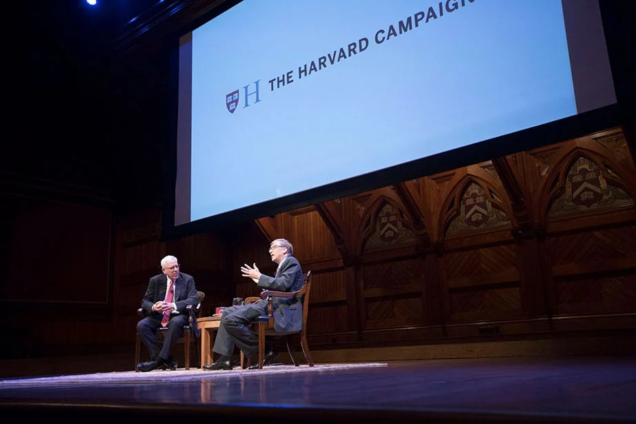 "Harvard launches The Harvard Campaign in 2013, seeking to articulate and affirm fundamental values of higher education. A conversation with William H. ""Bill"" Gates III '77, LL.D. '07, and David M. Rubenstein, Harvard Campaign co-chair, takes place as part of the campaign launch inside Sanders Theatre. Kris Snibbe/Harvard Staff Photographer"