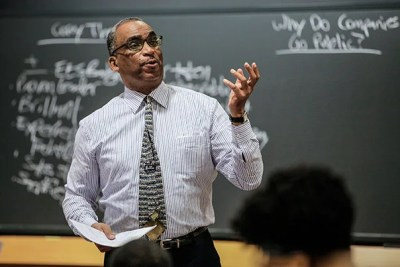 """""""When I was a student, we had 300 case studies our first year, and only one of those had an African-American protagonist,"""" said Steven Rogers, a senior lecturer whose course """"Black Business Leaders and Entrepreneurship"""" was designed for the Business School. """"The younger generation [of African-Americans] has embraced the philosophy that if you want success, you can be your own boss."""""""