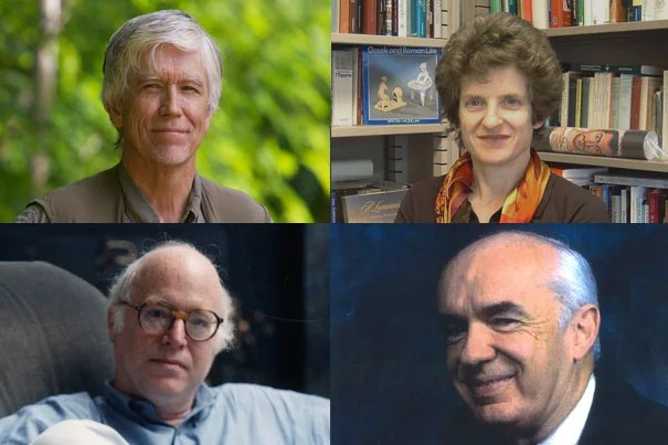 For their many contributions to society, the Graduates School of Arts and Sciences is awarding the Centennial Medal to Russell Mittermeier (clockwise from upper left), Sarah Morris, Thomas Pettigrew, and Richard Sennett.