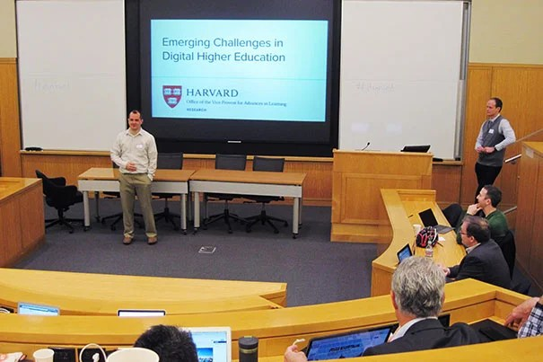 "With the increased movement in the digital learning space, ""there is a need to bring people together to talk about genuine challenges in our collective work,"" said Dustin Tingley, VPAL Research faculty director and professor of government, at Harvard's ""Emerging Challenges in Digital Higher Education"" conference. Conference organizer Daniel Seaton (right) said the conference focus was around ""infrequently discussed issues."""