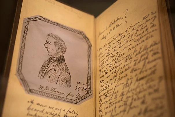 "A Houghton Library exhibit contains ephemera related to poet and scholar Henry David Thoreau, such as this annotated 1854 copy of ""Walden, or Life in the Woods,"" owned by a friend of Thoreau."