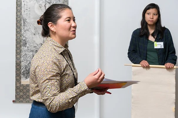 Jessica Magyar, GSE '17, speaks to a CRLS art class in a collaborative program to empower young teachers and students to teach and learn from original artworks at the Harvard Art Museums.