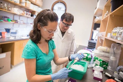 Terence Capellini, associate professor of human evolutionary biology, and Lyena Birkenstock '18 study a genetic mutation that favors shorter height but shows an increased risk for arthritis.