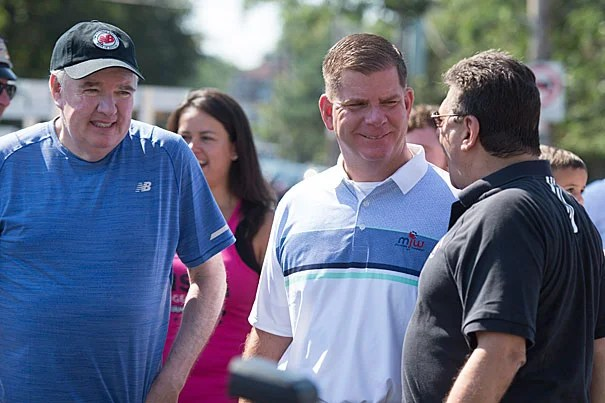 Rep. Kevin G. Honan (from left), Boston Mayor Martin J. Walsh, and Boston City Councilor Mark Ciommo were on hand for the 5K.