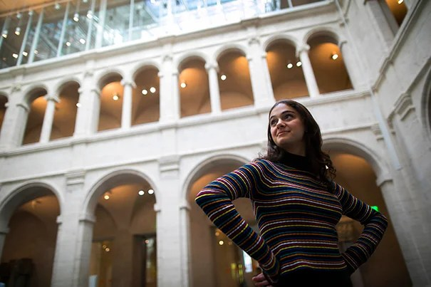 Visitors at the Harvard Art Museums provide inspiration for Lily Calcagnini '18, who has added fashion to her concentration of history and literature.