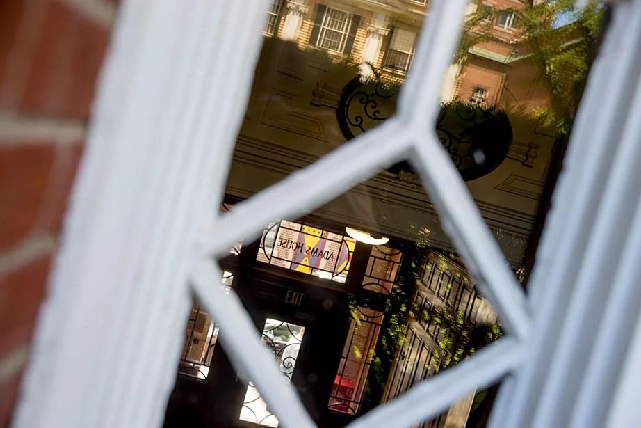 From inside the garden, a look through to Mount Auburn Street.