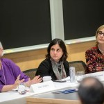 A symposium at the Harvard Global Institute examined the ethical, legal, social, cultural, and economic implications of migration. Panelists  pictured include Harvard professors Mary Waters (from left), Sabrineh Ardalan, and Jacqueline Bhabha.