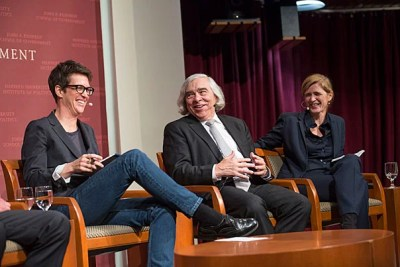 MSNBC host Rachel Maddow (left) moderated a panel of former Obama cabinet members, including Ernest Moniz and Samantha Power, to discuss national security issues under Trump.
