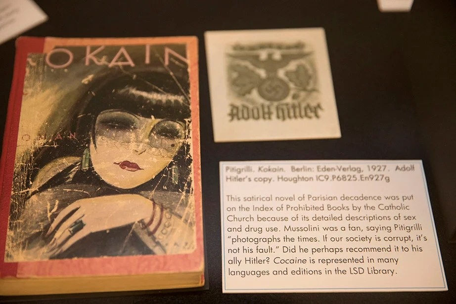 "Adolph Hitler's copy of ""Kokain,"" a 1927 novel banned by the Catholic Church. Kris Snibbe/Harvard Staff Photographer"