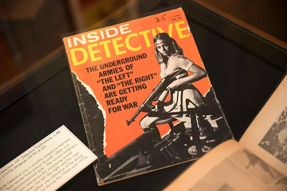 """Inside Detective was a monthly magazine that took the """"best stories from police records"""" albeit in a highly sensationalized style. Kris Snibbe/Harvard Staff Photographer"""