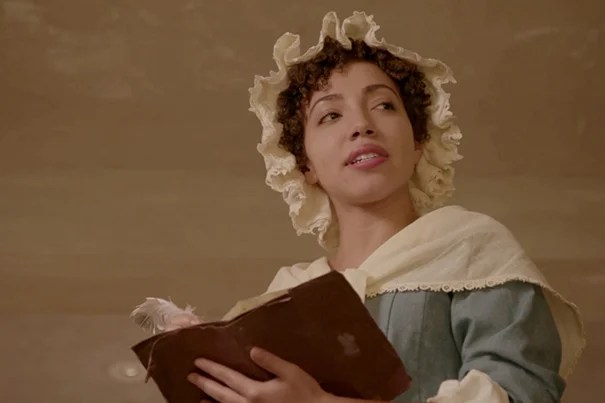 """Harvard sophomore Ashley LaLonde portrays poet Phillis Wheatley in the film """"No More, America,"""" directed by Peter Galison and Henry Louis Gates Jr."""
