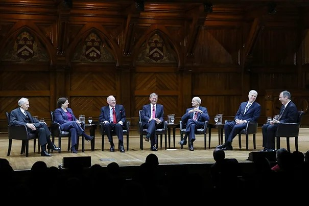 Six Supreme Court justices visited Harvard Law School to celebrate the school's 200th anniversary. From left: Associate Justice (retired) David H. Souter '66; Associate Justice Elena Kagan '86; Associate Justice Anthony M. Kennedy '61; Chief Justice John G. Roberts Jr. '79; Associate Justice Stephen G. Breyer '64; Associate Justice Neil Gorsuch '91; and Harvard Law School Dean John F. Manning `85.