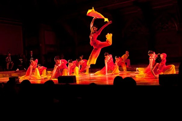 The Asian American Dance Troupe perform during the annual Cultural Rhythms event at Harvard University in Sanders Theatre.