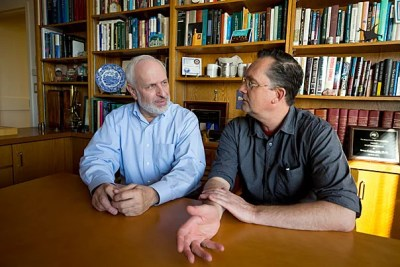 Harvard University McLean researchers Bruce Cohen, left, and Kai Sonntag have found an energy dysfunction in the cells of late-onset Alzheimer's patients, a possible additional explanation of the disease's hallmark dementia.