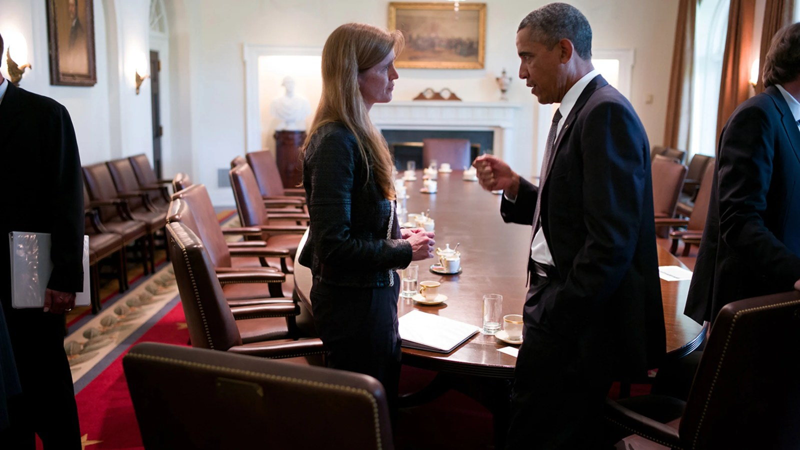President Obama talks with Ambassdor Power following a Cabinet meeting in the Cabinet Room of the White House, Sept. 12, 2013.  Official White House Photo by Pete Souza