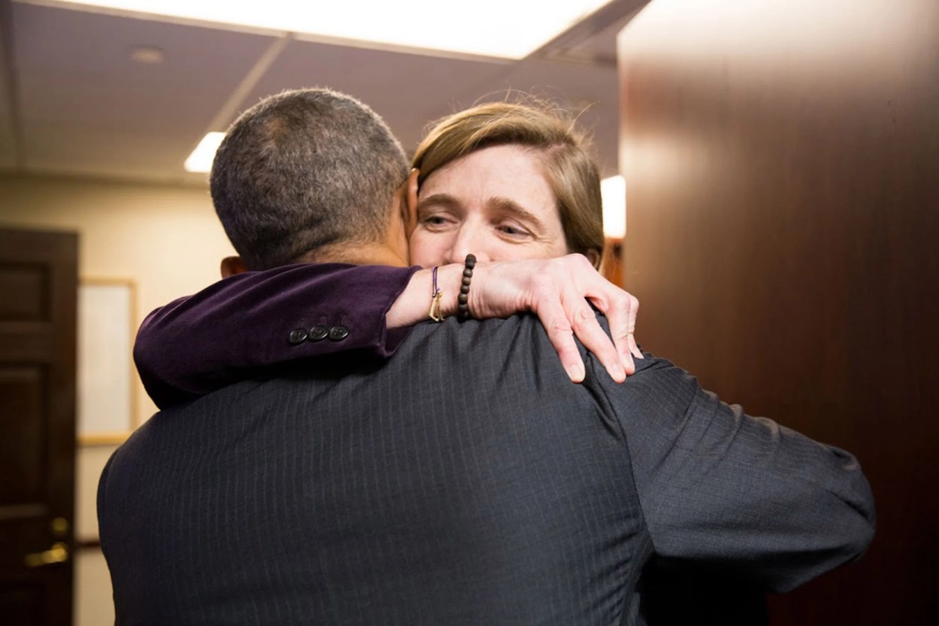 President Obama hugs Ambassador Power farewell in the Situation Room of the White House, Jan. 17, 2017.  Official White House Photo by Pete Souza