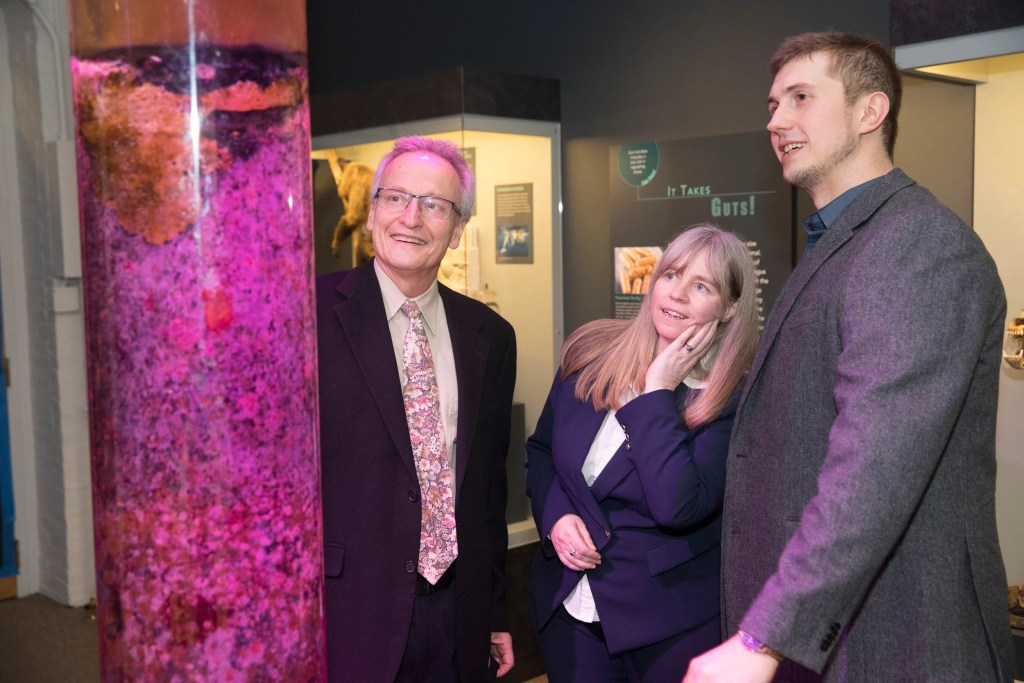 Roberto Kolter, (from left) Jane Pickering, executive director of the Harvard Museums of Science and Culture (HMSC) and Scott Chimileski.