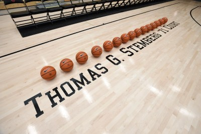 The basketball court in the newly renovated Lavietes Pavilion was dedicated to Thomas G. Stemberg '71 during a special ceremony.