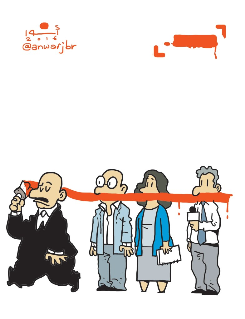 Political cartoons figure prominently in the Arab Press, and Anwar is among Egypt's best known cartoonists. Here he offers universal commentary on free speech. Courtesy of Jonathan Guyer