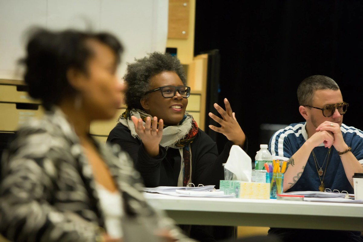 "The premiere of ""The White Card"" by playwright Claudia Rankine (center) was held in Boston at the Emerson Paramount Center. A collaboration with ArtsEmerson and the American Repertory Theater, it continues through April 1."