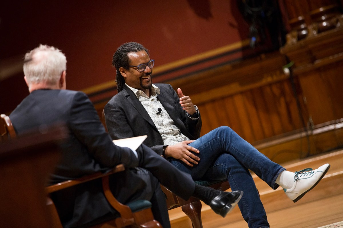 Colson Whitehead laughs with John Lithgow