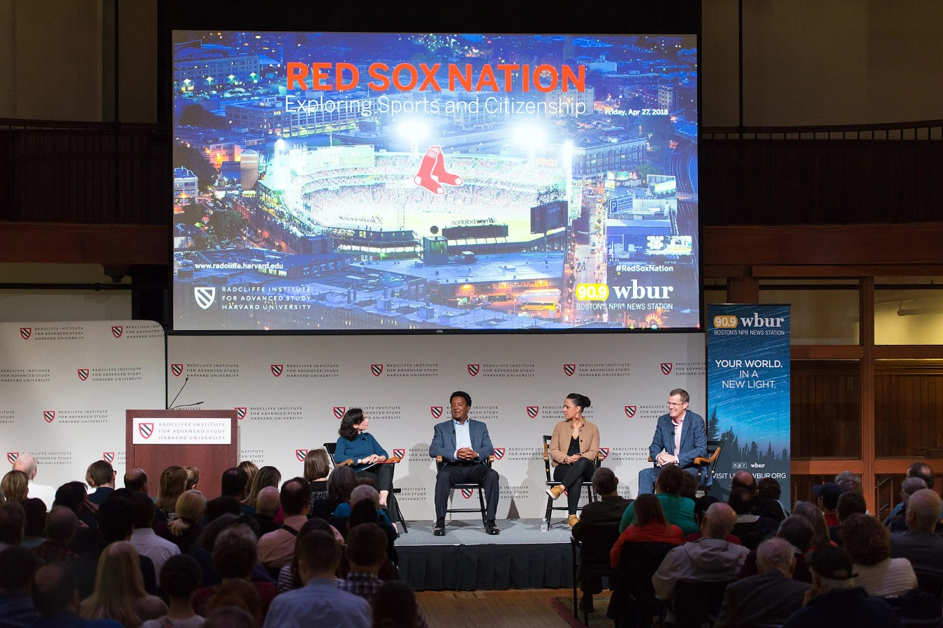 Red Sox fans and community members flocked to Radcliffe to hear the discussion between Shira Springer (from left), Pedro Martinez, Rebekah Salwasser, and Sam Kennedy. Photo by Kevin Grady/Radcliffe Institute