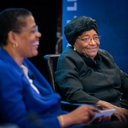 Sirleaf shares lessons from Liberia in Harvard forum