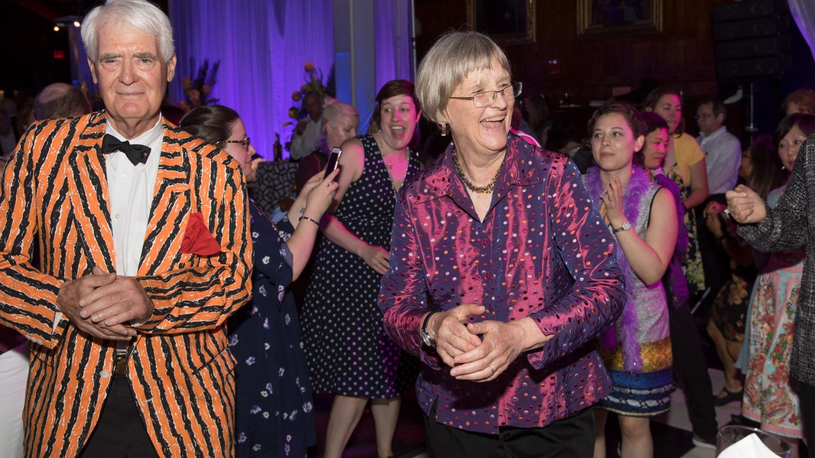 Drew Faust dances.