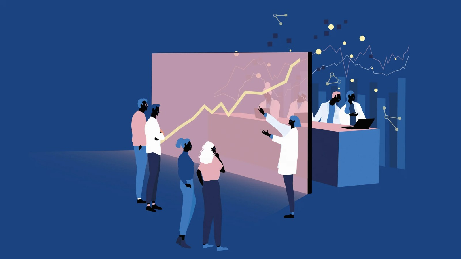 Scientists explaining data to the public
