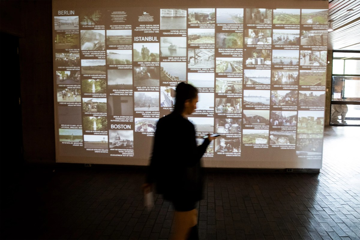 """At the Graduate School of Design, the exhibit """"Urban Intermedia"""" stands as """"an experiment and the beginning of an ongoing discussion on new kinds of practices around the study of cities,"""" said co-curator Eve Blau. Jon Chase/Harvard Staff Photographer"""
