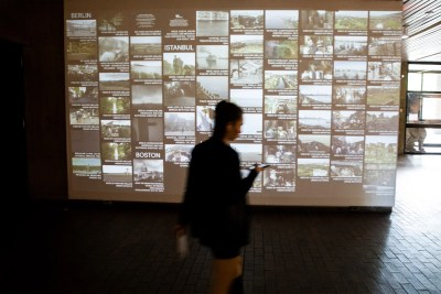 "At the Graduate School of Design, the exhibit ""Urban Intermedia"" stands as ""an experiment and the beginning of an ongoing discussion on new kinds of practices around the study of cities,"" said co-curator Eve Blau. Jon Chase/Harvard Staff Photographer"