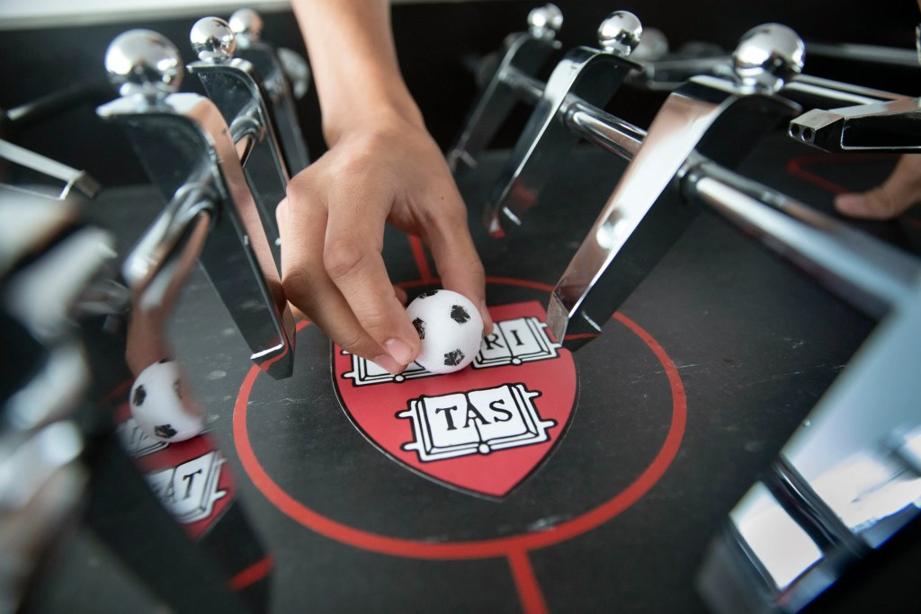 Foos ball on a veritas table.