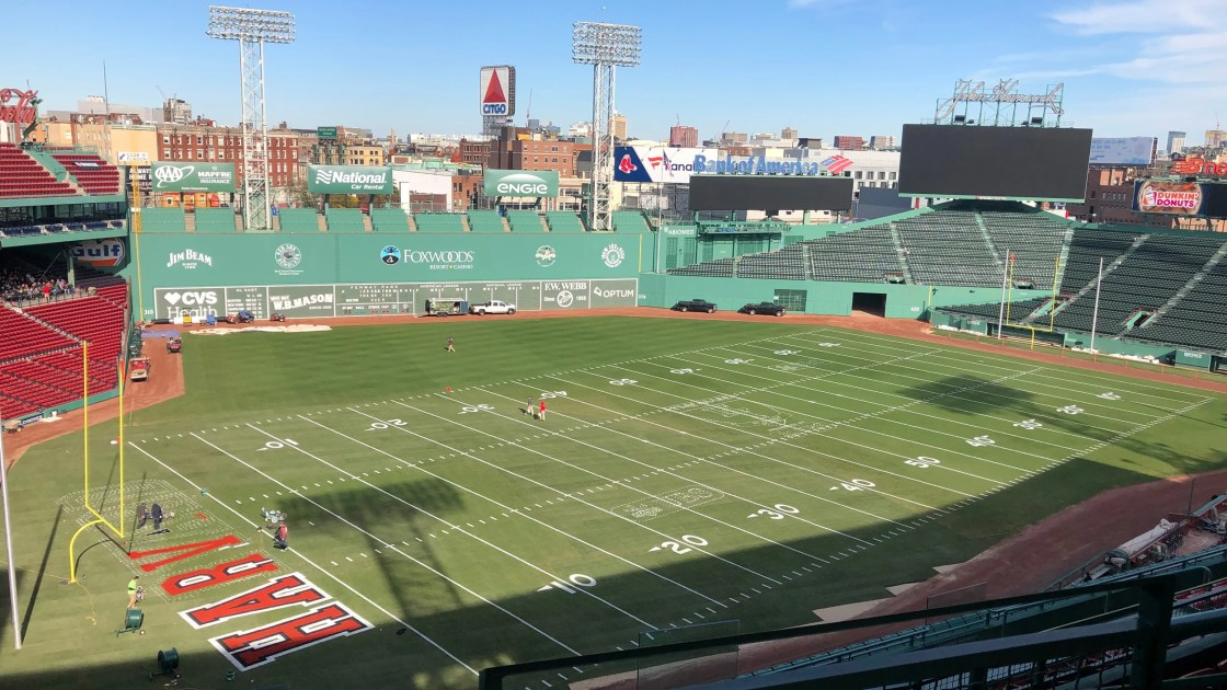 The process of turning Fenway into a football field for Harvard-Yale