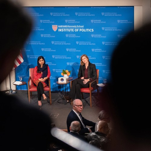 Malala Yousafzai (left) speaks at an Institute of Politics forum moderated by Samantha Power on Thursday.