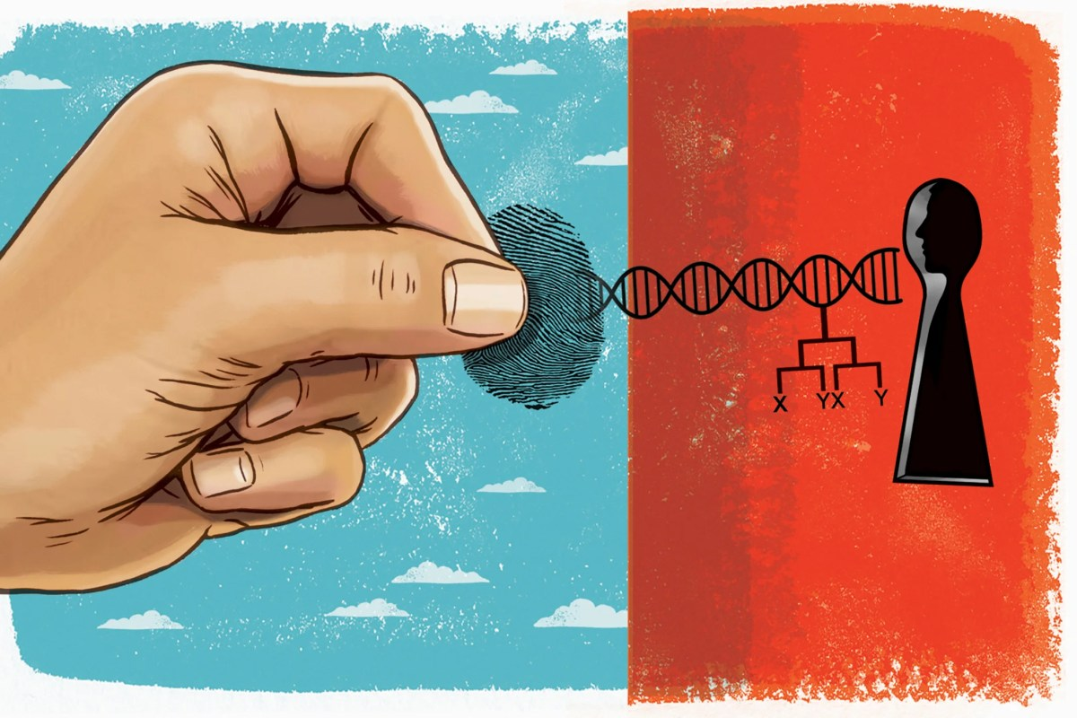Hand unlocking genetic data.