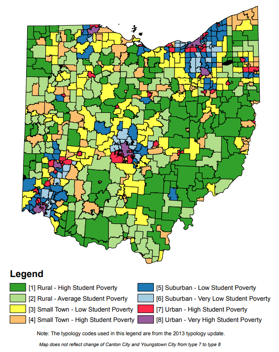 Map of Ohio school district typologies.