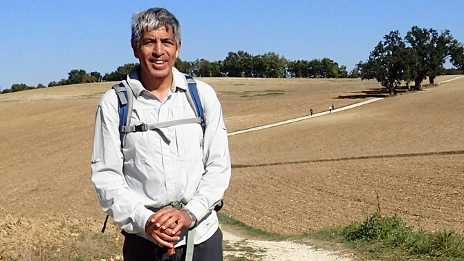 Ray Rivera during a 200-mile walk in France in 2016, about six months after his heart surgery. (Photo courtesy of Ray Rivera)