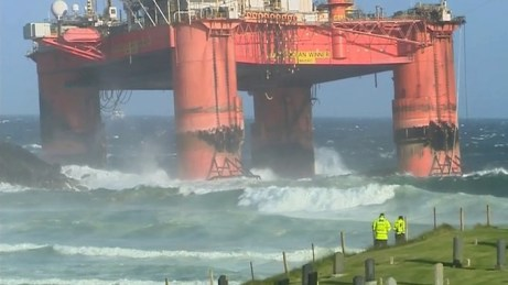 The Transocean Winner runs aground on the Isle of Lewis off Scotland.