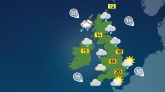 Weather  Rain in Northern Ireland but sunny spells elsewhere   ITV News Weather map