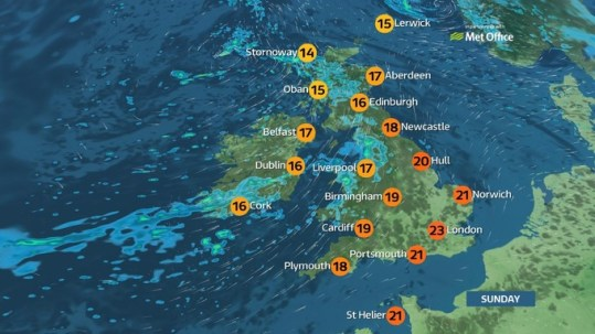 Weather  Mostly dry with sunny spells today   ITV News map