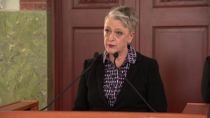 The Nobel Committee chairwoman Berit Reiss-Andersen announces the winner.