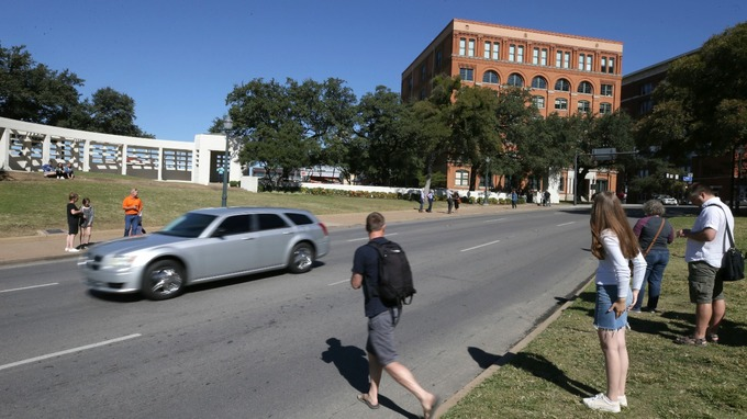 The book depository at Dealey Plaza in downtown Dallas is now a tourist site.