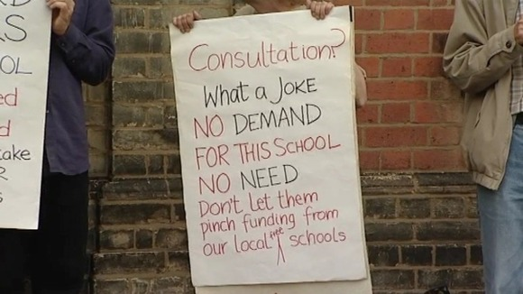 Local people in East Anglia protest about the imposition of an unwanted 'free school' in their area