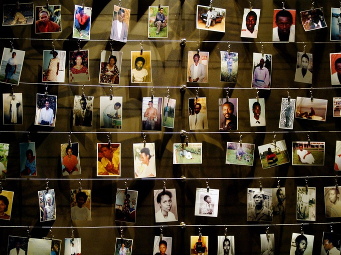 Pictures of genocide victims donated by survivors at a memorial in Kigali.