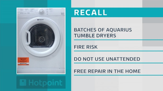 Some Hotpoint tumble dryers will be recalled.